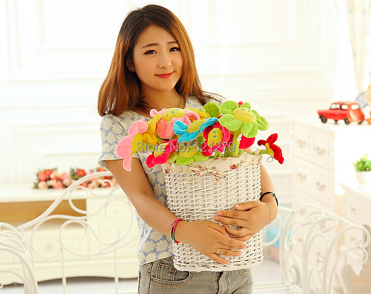 free shipping 32cm 100pcs/lot Special toy sun flower wedding and birthday gift plush toys curtains Home Furnishing(China (Mainland))