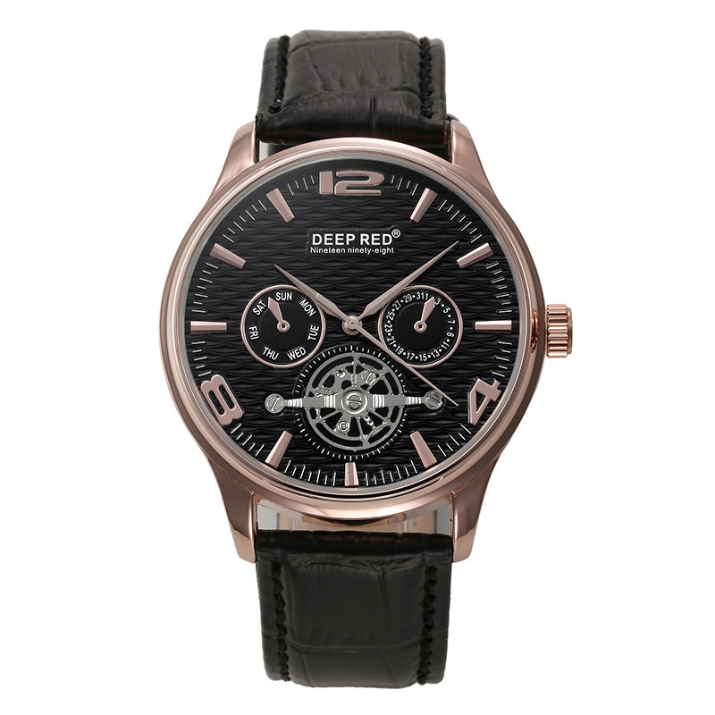 DEEP RED Men watch Business quartz Leather strap Casual style 2015 New Free shipping(China (Mainland))