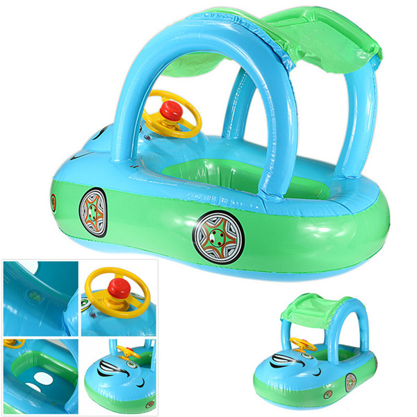 Hign Quality Inflatable Baby Float Seat Boat Tube Ring Car Sun shade Water Swim Swimming Pool Portable blue(China (Mainland))