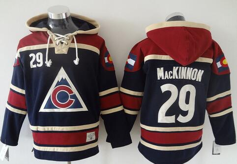 Hot #29 Nathan MacKinnon Colorado Avalanche Hoodie Navy 100% Stitched Mens Ice Hockey Hooded Sweatshirt New Arrival