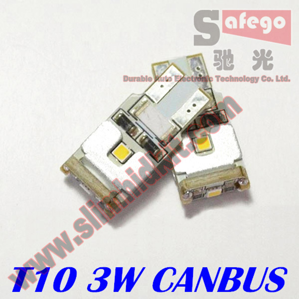 2 pcs free shipping SAMSUNG t10 canbus 3w 6500K Signal Light, Door Light t10 led lights led t10 canbus for Reading light(China (Mainland))