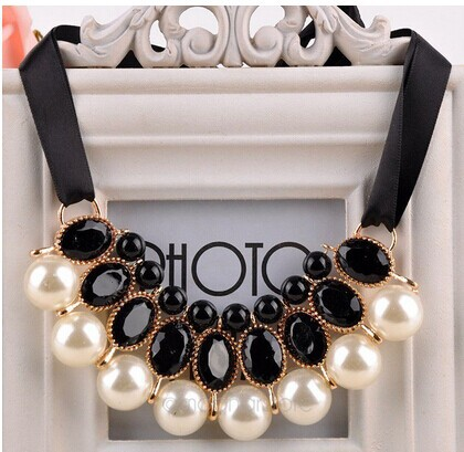 2015 Pearl necklace Vintage Choker Collar New Ribbon Bead Rhinestone Chain Statement Necklaces Pendants Women Jewelry Gifts(China (Mainland))