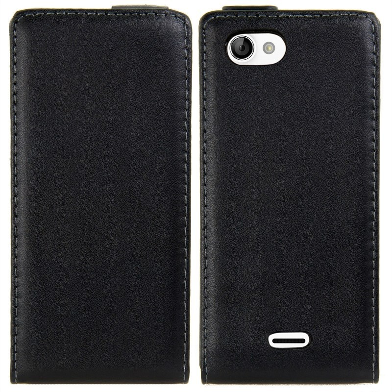 10pcs Free Shipping New Black Flip Leather Case For Sony Xperia J St26i Flip Cover High Quality
