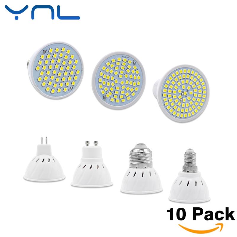 YNL 10Pcs/lot New Arrival SMD 2835 GU10 E27 E14 MR16 LED Lamp 220V 240V LED Spotlight 3w 5w 7w Light Bulbs LED Chandelier