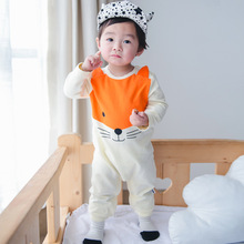 2016 spring infant baby girls boys rompers cartoon fox print playsuit gray beige cotton toddlers long sleeve jumpsuit(China (Mainland))