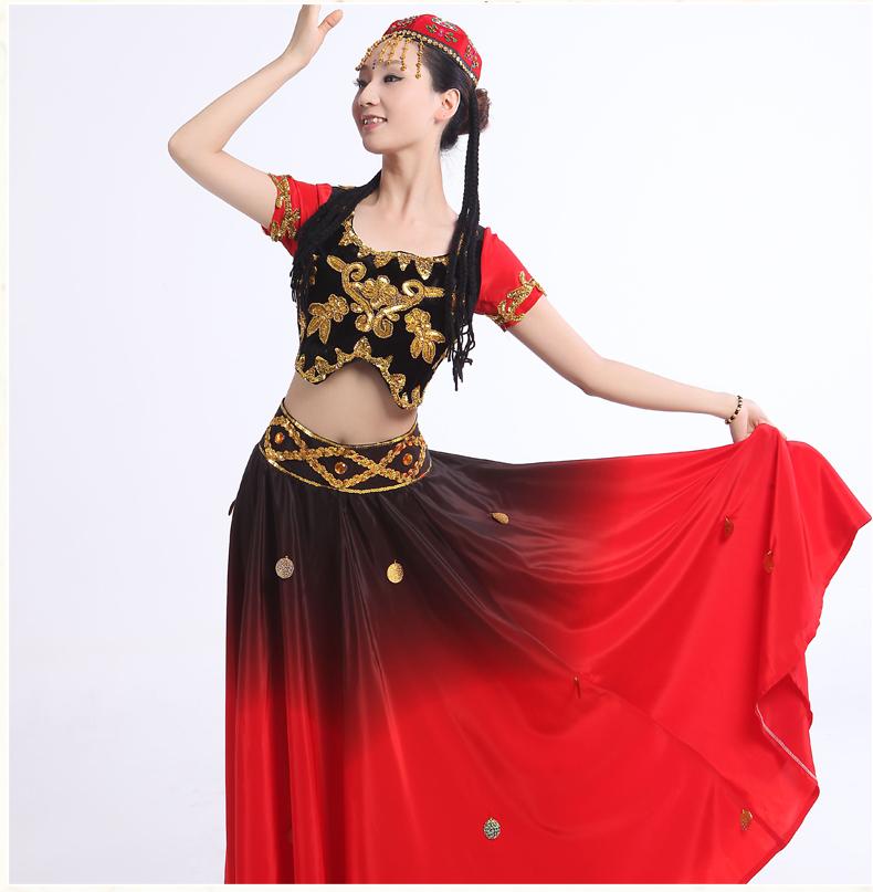 Nuevo swing grande uigures disfraces danza de las minorías trajes de danza folk chino étnico dance performance wear disfraces(China (Mainland))