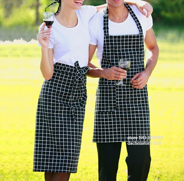 Korean style classic plaid home cooking apron kitchen apron chef coffee restaurant delantal cocina avental da cozinha(China (Mainland))
