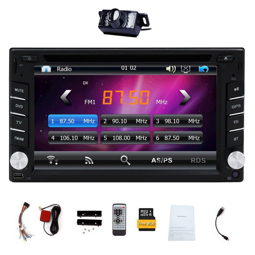 6.2 Inch Universal Car Stereo Navigation Double Din in Dash GPS Car DVD Player USB SD Bluetooth Radio In Dash Rearview Camera(China (Mainland))