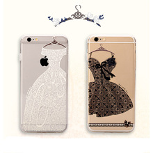 Transparent Soft TPU Classic Lace Flower Black skirt Phone Case Coque For Apple Iphone 6 6S 6Plus Back Cover Red Skirt Capa(China (Mainland))