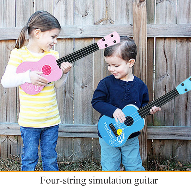 The simulation guitar Children's Musical Toys Educational toys Four-string guitar Toy Musical Instrument(China (Mainland))