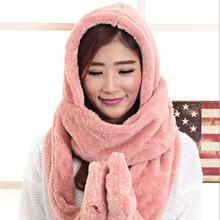 Women Men Long Scarf Hat Cap Hand Warmed Piece Fashion Gloves Hooded Fur Collar Scarf Winter Cute Gift Plush Wrap Stole Shawl(China (Mainland))