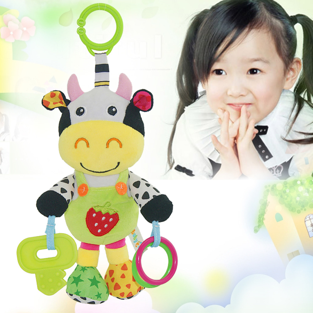2016 New Arrival 13' Infant Rattles Plush Animal Stroller Music Hanging Bell Toy Doll Soft(China (Mainland))