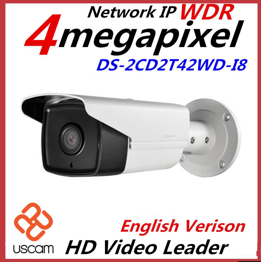English Version IP Camera 4.0 megapixel V5.3.3 Multi Language Bullet IR Camera POE IP Camera DS-2CD2T42WD-I8 WDR Function(China (Mainland))