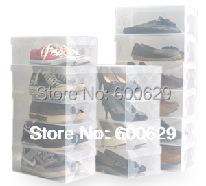 Transparent Women Lady Stackable Crystal Thickening Plastic Shoe Storage Boxes Organizer 200pcs/lot(China (Mainland))