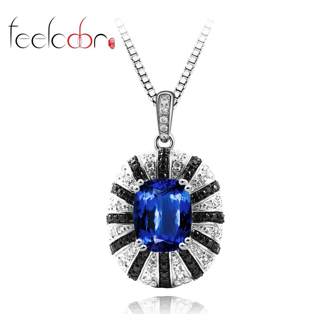 Fashion 5.9ct New Brand Sapphire Spinel Pendant Dangle Solid 925 Sterling Silver 18k Black Gold<br><br>Aliexpress