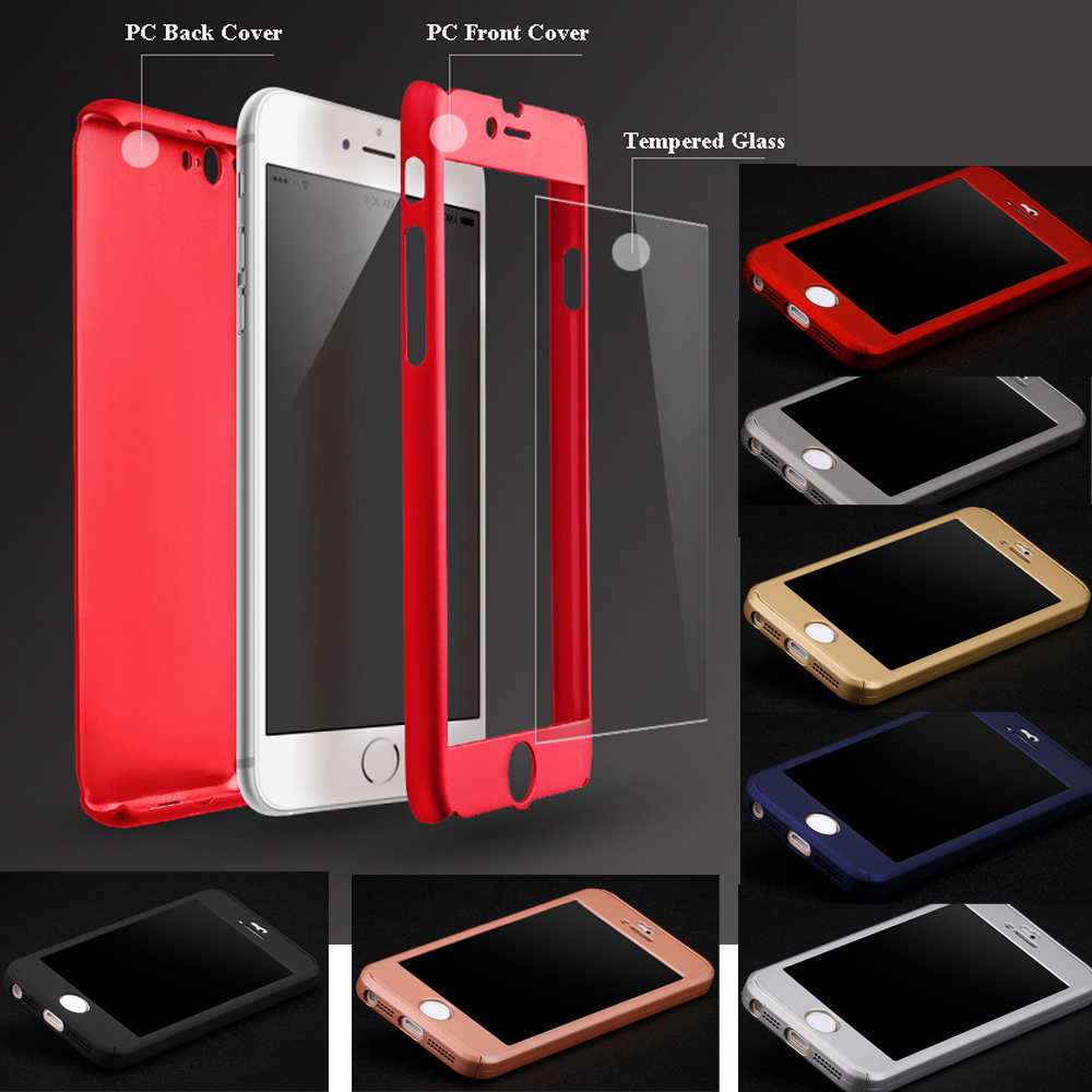 For 5 5s Case Luxury Matte PC Hard Full Body Case For iPhone 5 5S SE Coverage of 360 Degree Cover + Tempered Glass Screen(China (Mainland))