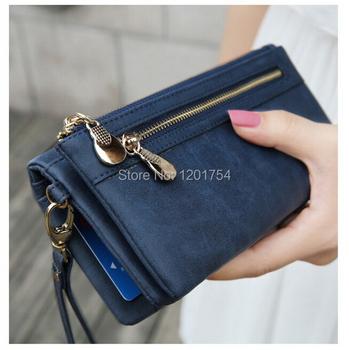 Мода женщин бумажники скучный польский кожаный бумажник двойная молния день клатч ...