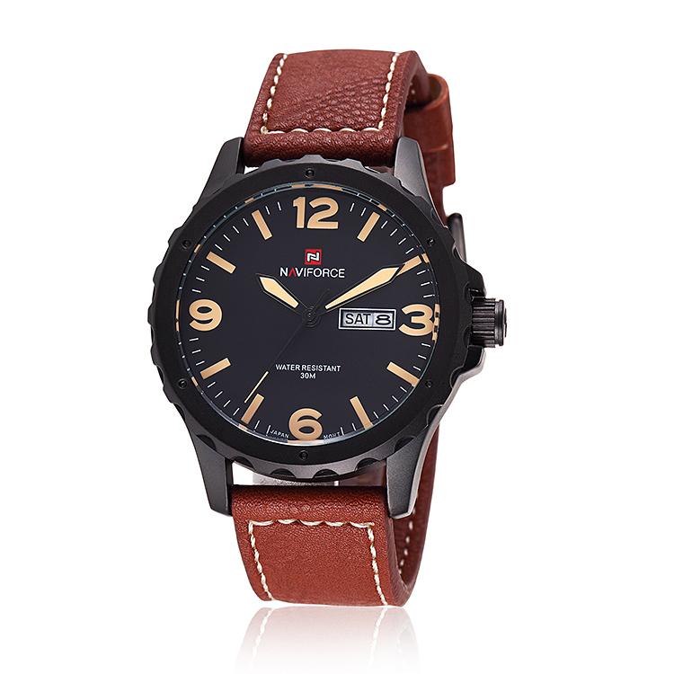 High Quality NAVIFORCE Brand Watch Leather Strap Quartz Watch Auto Date Sport Watches Men Military Watch Hours Relogio Masculino