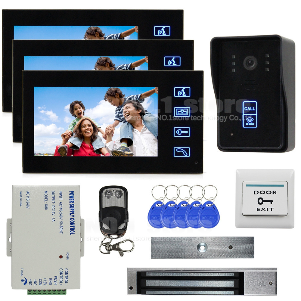 7 Inch Monitor Video Door Phone Intercom Doorbell Home Security + Remote Control + 280kg 350lb Magnetic Lock 1 V 3(China (Mainland))