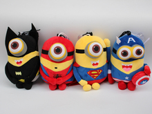 Minions Cosplay The Avengers Super Hero Spiderman & Superman & Batman & Captain America 23cm Despicable ME 2 Action Figure Toys(China (Mainland))