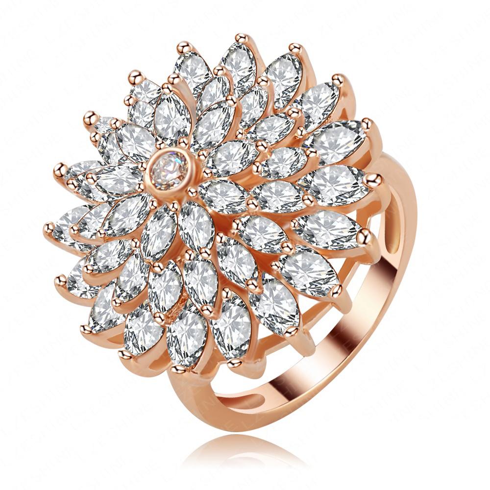 Elegant Big Fashion Full Zircon Crystal Flower Ring 18K Rose Gold Plated Genuine SWA Element Plant Rings Jewellery Ri-HQ1129-A<br><br>Aliexpress