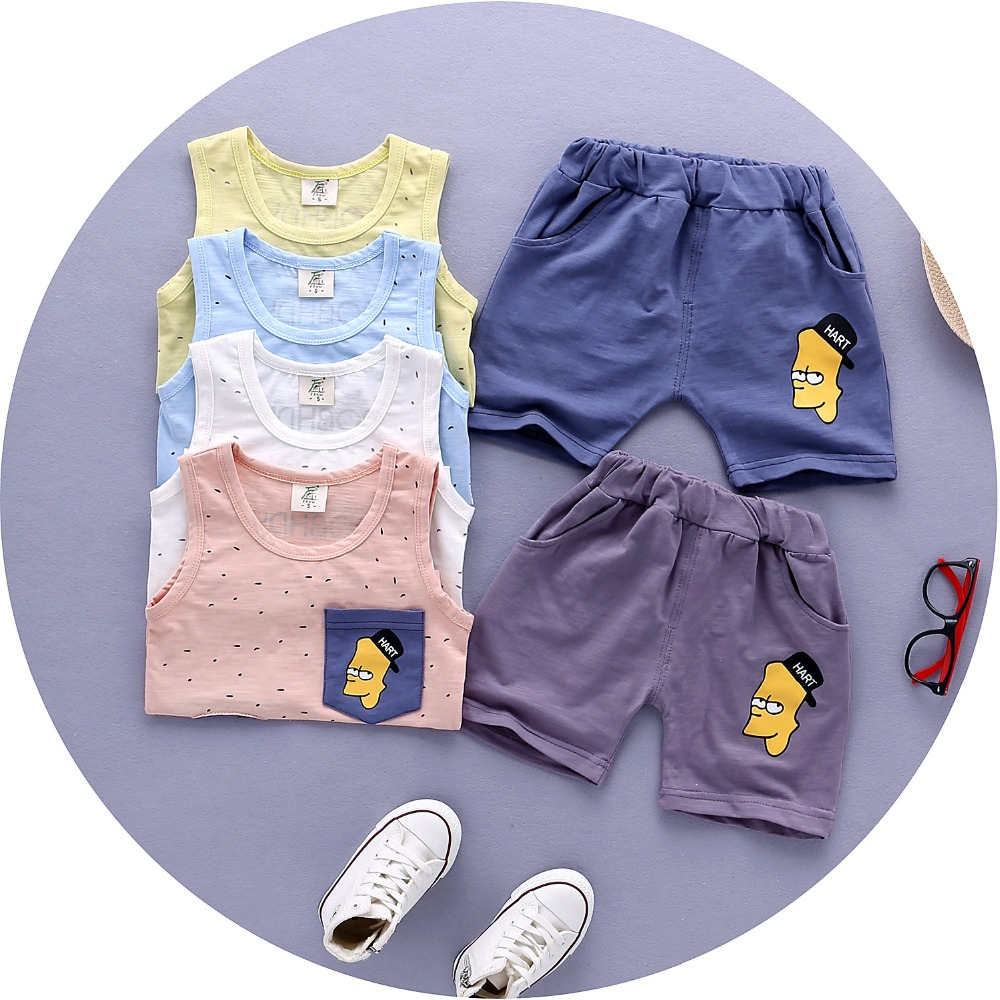 Summer Kid Baby Boy clothes sets cute Cartoon vest sleeveless T-shirt with print short pants suit girls sets causal clothes(China (Mainland))