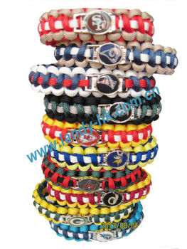 550lb Paracord Bracelet Survival Wristband with National Football Team Metal Charm, 100pcs/lot, Free Shipping