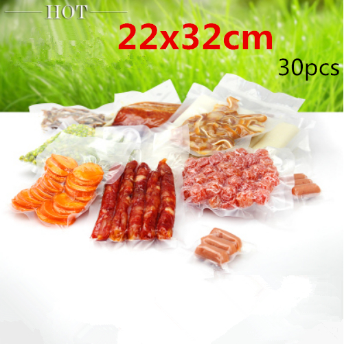 22x32cm 30pcs New material plastic pack bags/Thicken vacuum plastic packaging Dried fruit,candy,vegetables,food etc pouchs(China (Mainland))