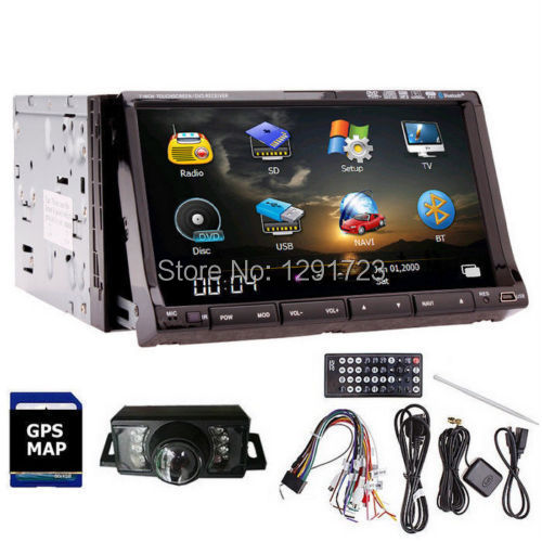 "Free Camera+Double 2 DIN 7"" HD GPS Navi Car Stereo DVD CD Video Player Bluetooth In dash Car Radio Audio MP3 TV iPod TouchScreen(China (Mainland))"