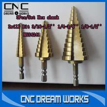 HSS power tools step drill 3Pcs/ Set drill bit set tools for woodworking 1050090D