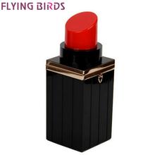 FLYING BIRDS! Black Lipstick Shape Evening Bags Purses women clutch Vintage b