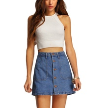 Buy 2017Summer Style Women Mini Skirts High Waist Sexy Womens Pockets Blue Single Breasted Denim A-Line Skirt S3 for $8.35 in AliExpress store