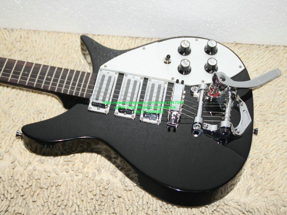 top quality factory custom Rick 325 330 model 3 pickups R musical instrument electric guitar black color wholesale&Retail(China (Mainland))
