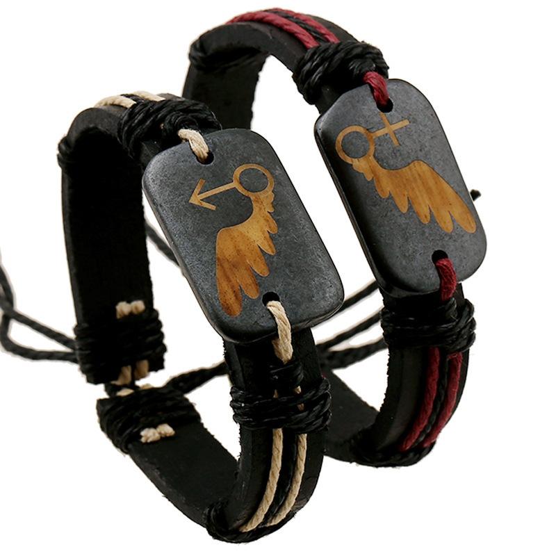 Lovers Bovine bone Genuine leather men Weave Cowhide Retro Bracelet women diy fine jewelry rock love gift summer style charms(China (Mainland))