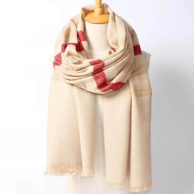 2016 новое поступление зима мода женщин евро сочетание цветов бежевый полосатый толстые теплые кашемировые длинный шарф
