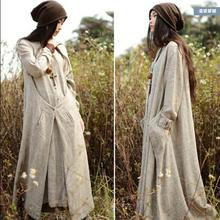 2016 Women's Spring and autumn loose fluid long-sleeve basic vintage linen one-piece dress