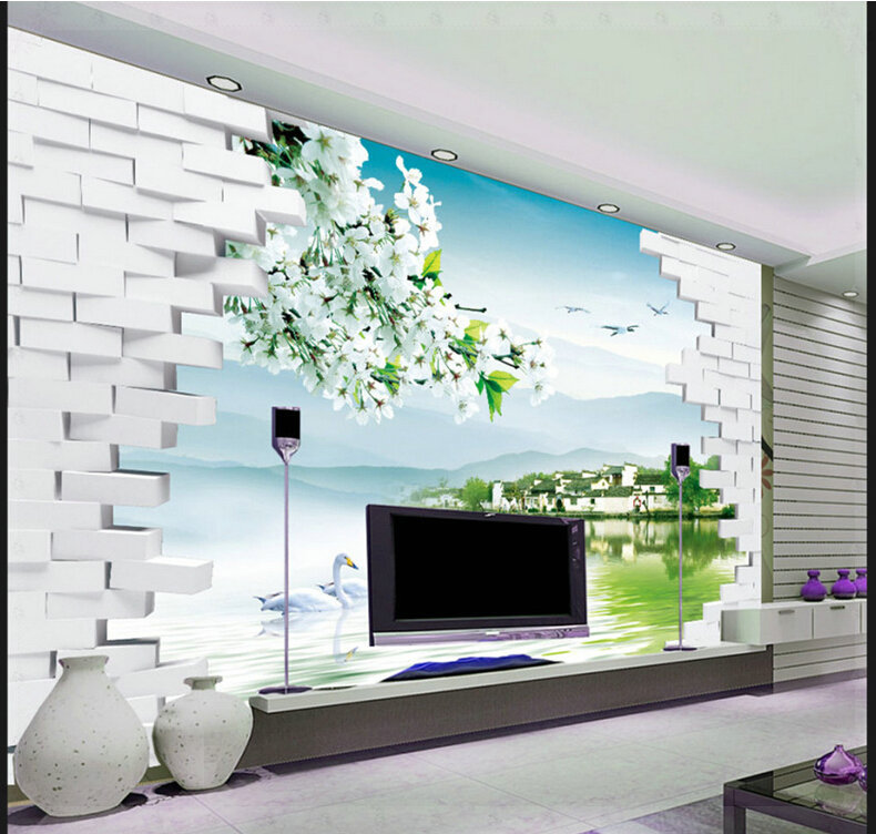 Fashion 3d tv backdrop decorative painting scenery for Sample wallpaper for living room