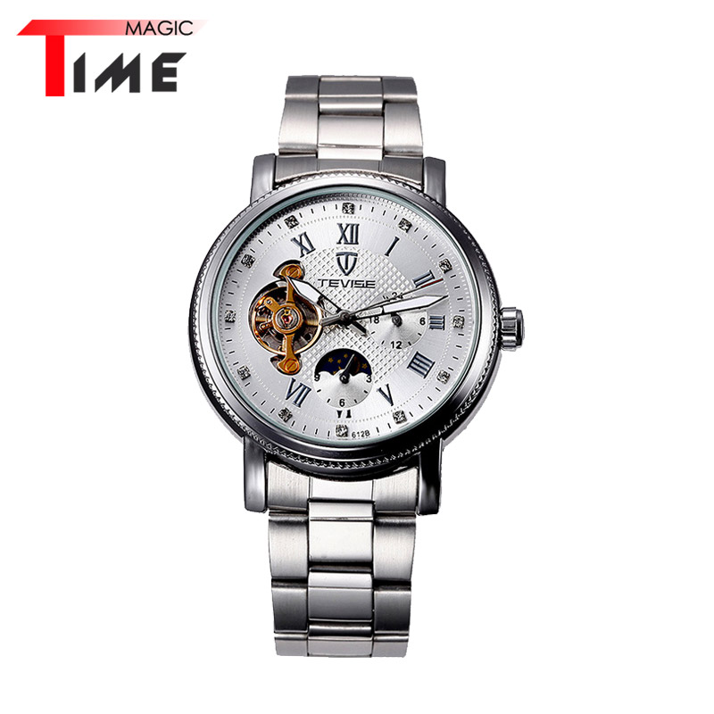 [Time Magic] Black White Watch Dial Casual Full Steel Strap Mens Dress Watches Mechanical Business Watch with Moon Phase<br><br>Aliexpress