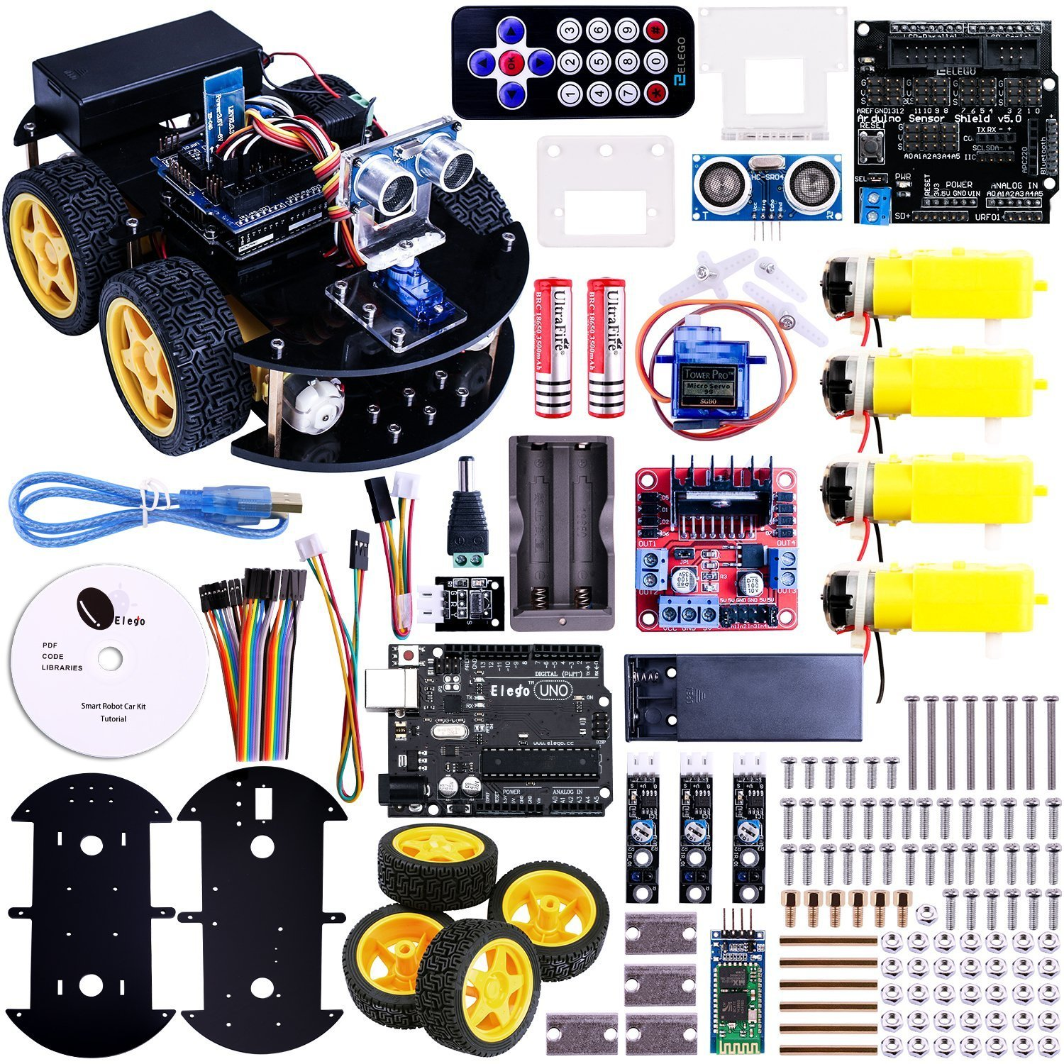 UNO Project Smart Robot Car Kit with UNO R3 / Ultrasonic Sensor /Bluetooth module / Remote Educational Toy Car for ARDUINO(China (Mainland))