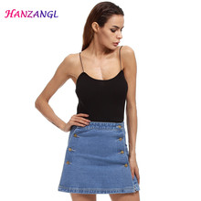 Buy 2017 Summer Style Women Mini Skirts High Waist Sexy Womens Pockets Blue Single Breasted Denim A-Line Skirt plus size S~5XL for $9.99 in AliExpress store
