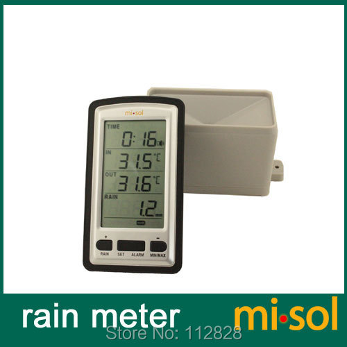 Free Shipping wireless rain meter w/ thermometer, rain gauge Weather Station for in/out temperature(China (Mainland))