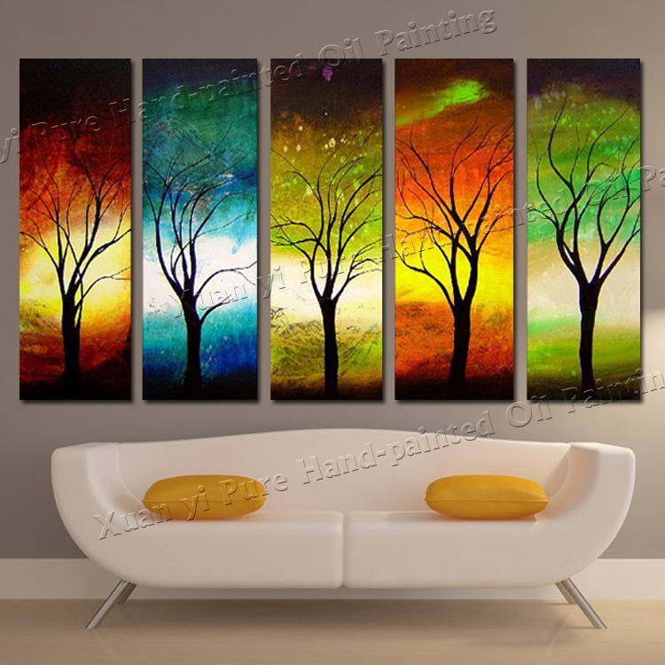 Hand painted 5 piece modern 4 season tree wall art for 4 seasons decoration