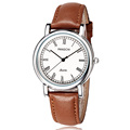 Brand PANGCHI High Quality Gentleman Vintage Roma Mens Casual Dress Watch Brown Genuine Leather White Face
