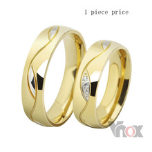 Free shipping 18k gold plated  6mm wide wedding rings for men and women jewelry