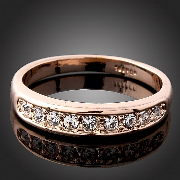 18K Rose Gold Plated Engagement/Wedding Rings with AAA CZ Diamond classic Jewelry anel aneis anillo Accessories For Women(China (Mainland))