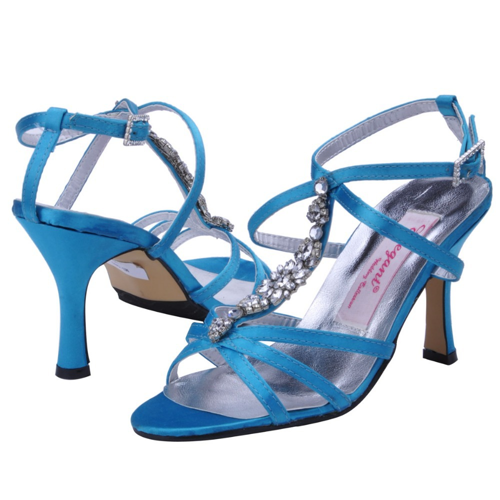 Fashion Summer Women Pumps Open Toe Blue Sandals Slingback Cutout High Heels T-strap Satin Rhinstones Buckles Straps Party Shoes - Dragon River store