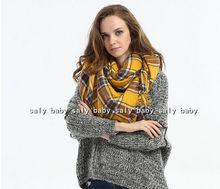 2016 Lady Blanket Pashmina Cashmere Plaid Cozy Checked Tartan Scarf Wraps shawl