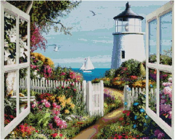 Free delivery Top Quality popular counted cross stitch kit window to sea boat beacon lighthouse(China (Mainland))