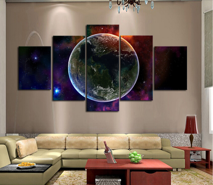 Free shipping 5 piece hot sell earth modern home wall for How to sell home decor online