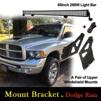2x Upper Light Windshield Mount Bracket for 50 Inch Straight Light Bar for Dodge Ram 1500 Ram 2500/3500 4X4 4WD SUV